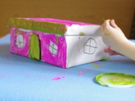 鞋盒做的精灵房子!